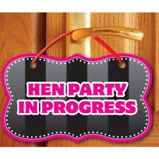 Hen Party in Progress Door Sign Caution Hanger Bridal Shower Hen Night Decoratio
