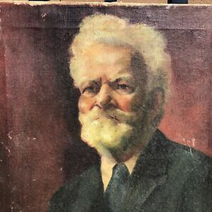 Antique Striking Portrait Oil Painting by McCulley for Restoration