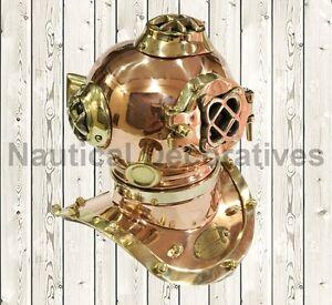 U.S. Navy Mark V Mini Diving Helmet Sea Divers Helmet Solid Brass & Copper