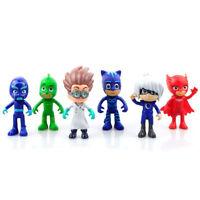HOT 6pcs Pj Masks Characters Catboy Owlette Gekko Cloak Action Figure Toys