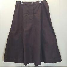 Roamans 16W Brown Jean Skirt Denim A Line Flared No Slits Long Modest Church