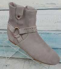 Ted Baker London Womens Pink Gold Ankle Boots Side Zip Flat Booties Size 7 M