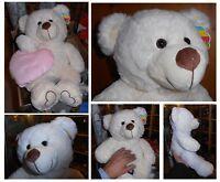 Peluche orso bianco grande cm 50 animale nuovo morbido XL XXL + OMAGGIO cuscino