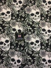 Black & Grey Skulls & Roses Gothic Printed 100% Cotton Poplin Fabric.