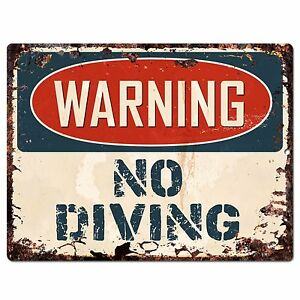 PP1035 WARNING NO DIVING Plate Rustic Chic Sign Home Store Decor Gift