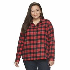 NWT - SO Perfect RED/BLACK Plaid Soft Flannel Shirt Women's Size 2X Retail $38