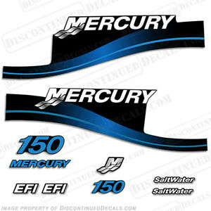 Mercury 150hp EFI Saltwater Series Outboard Decal Kit 1999-2004 - Blue