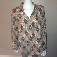 Jonathan Martin Button Down Shirt Size L Large Womens Blouse Silk Floral Plaid