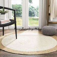 Indian Natural Jute Handmade Braided Dhurrie Reversible Mat Rag Rug Round-7 Ft
