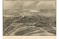 Map of Providence, Rhode Island 1896; Antique Birdseye Map