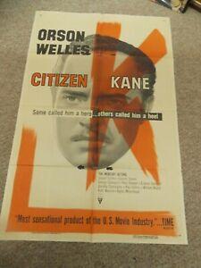 "CITIZEN KANE(R-56)ORSON WELLES ORIGINAL ONE SHEET POSTER 27""BY41"""
