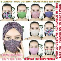 LADIES REUSABLE FACE MASK SHIELD HEADBAND 100%COTTON WASHABLE ADJUSTABLE ELASTIC