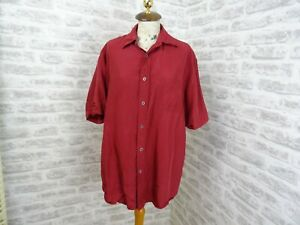 vintage  mans or unisex silk shirt deep red ANGELO LITRICO C&A  size L  T323