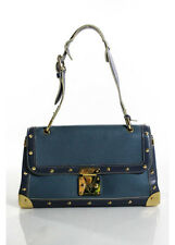 LOUIS VUITTON Blue Leather Gold Tone Suhali le Talentueux Shoulder Handbag