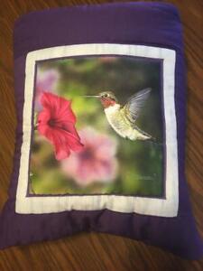 New Handmade Purple Hummingbird Quillow (Pillow w/ 6ft long quilt inside!)