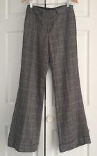 BEDO Femme Wool Pants Brown Plaid Trousers Wide Leg Size 6