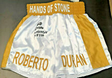 Roberto Duran Autographed Boxing Trunks Manos de Piedra - Beckett BAS Witnessed
