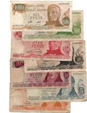 ARGENTINA SET: 1,5,10,50,100,500,1000 Pesos (1970-1976) VG-VF Banknotes