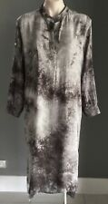 Grey & Black Tie Dye Pink Diamond Adjustable Sleeve Kaftan Dress Size M/12