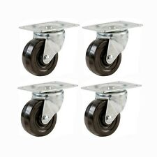 "2"" Swivel Caster Wheels Hard Rubber Base with Top Plate & Bearing (Set of 4)"