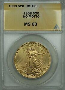 1908 No Motto $20 St. Gaudens Double Eagle Gold Coin ANACS MS-63 BP