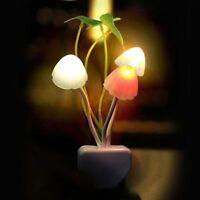 Plug EU Romantic Automatic Home Sense Colorful LED Bed Lamp Night Mushroom Light