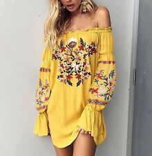Vintage 70s Yellow Bohemian Short Mini Dress Mexican Embroidered Boho Hippie NEW