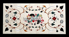 4'x2' Marble Dining Center Table Top Floral Marquetry Inlay Gems Christmas Gift