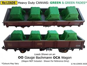 Tarped Covered Sheeted Model Railway Loads, GREEN & FADES for HO, OO Scale Gauge