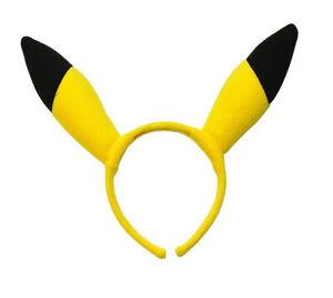 Pikachu Ears on Headband Pokemon Go Yellow Cute Animal Mouse Electric Cosplay
