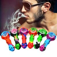 1pc Portable Organic Silicone Tobacco Herb Pipe with Glass Bowl Smoking Pipes