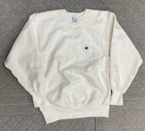 Vintage 90s Reverse Weave Champion Crewneck Sweater White Cream Made Usa Size XL