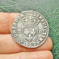 Louis XIII - Quart d'Ecu Croix fleurdelisée, Avers côté Croix - 1615 L Bayonne