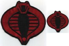 "GI Joe Cobra Commander Embroidered Red & Black 6"" & 3"" Cobra Iron-On Patch Set"