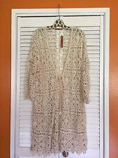 1X - New Cotton Cream Lace Crocheted Long Sweater Coat Cardi Duster Belldini XL