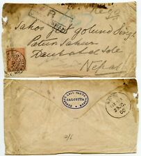 INDIA to NEPAL REGISTERED 1900 QV 3 ANNAS HOWRAH R HANDSTAMP