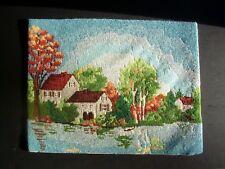 "VTG Bucilla LAKESIDE #4238 COMPLETED Needlepoint ~Wool Yarns 16 x 20""~BEAUTIFUL!"