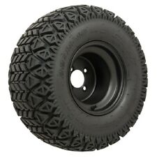 Set of 4 Golf Cart 10 inch Black Steel Wheels on GTW All Terrain Off Road Tires