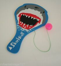 """Wooden Paddle Ball Game Board With Shark Theme NIP 11"""" x 6"""""""