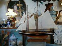 Modell Segelschiff Zweimaster aus Holz mit vielen kleinen Details 80x65x12cm