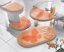 BADEMATTE mit SCHMETTERLING pfirsich-weiss-orange BAD-TEPPICH ~ DUSCHMATTE NEU