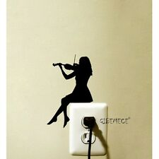 Violin Girl Switch Sticker Decoration Vinyl Wall Decal Room Home Decoration