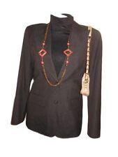 VERSACE Womens Vtg Brown Formal Business Tailored Jacket Blazer sz M 12 Y23