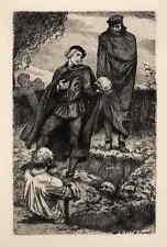 Hamlet, le tombeau parle avec crânes-Arthur combat original gravure 1920