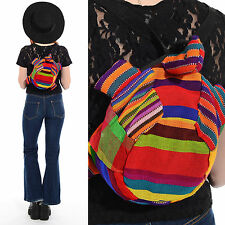Vintage 90s Rainbow Woven Kilim Backpack Turtle Grunge Festival Rave Purse Bag