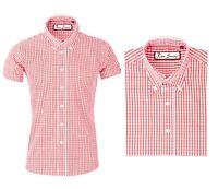 Retro Men's Red Gingham Shirt Check Short Sleeve Button Down Collar Mod Top