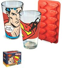 Brand New 2 Superman 16 oz Glass & Ice Clue Tray Combo Pack