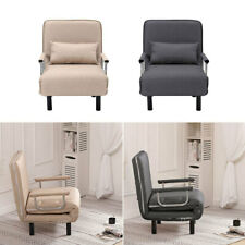 Recliner Fabric Chair Sofa Bed Lounger Sleeper Couch Folding Armchair Chrome Bed