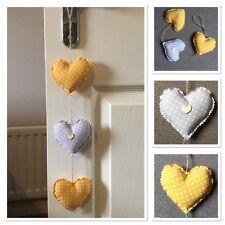 Handmade vertical fabric hanging love hearts mustard yellow grey shabby chic
