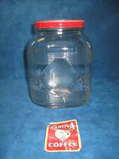 Vtg CANOVA Large 3-lb Lidded Embossed Glass COFFEE JAR..Hazel Atlas..NICE..RARE!